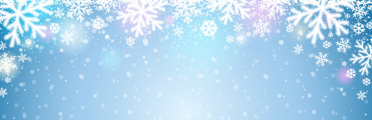 Wall Mural - Blue christmas banner with white blurred snowflakes. Merry Christmas and Happy New Year greeting banner. Horizontal new year background, headers, posters, cards, website. Vector illustration