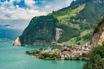 Switzerland, Panoramic view on Sisikon village on lake Lucerne