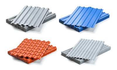 Set of different types of roof coating. Stacks of sheet metal  profiles, ceramic tile and gypsum roof isolated on white background.