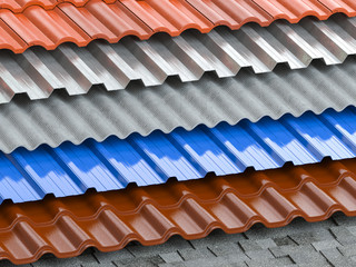 Obraz Different types of roof coating. Background from layers of sheet metal  profiles, ceramic tiles, asphalt roofing shingles and gypsum slate. - fototapety do salonu