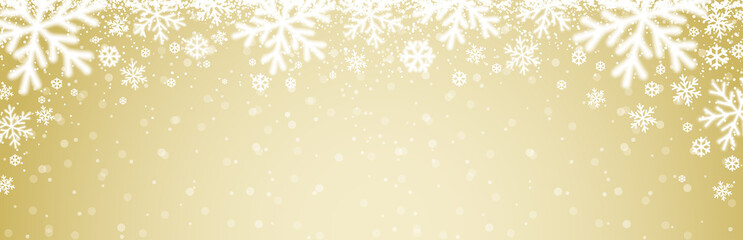 Wall Mural - Beige christmas banner with white blurred snowflakes. Merry Christmas and Happy New Year greeting banner. Horizontal new year background, headers, posters, cards, website. Vector illustration