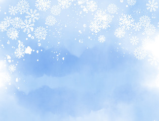 Watercolor painted abstract winter landscape in blue colors with snow flakes and snow crystals. With copy space. Computer generated.