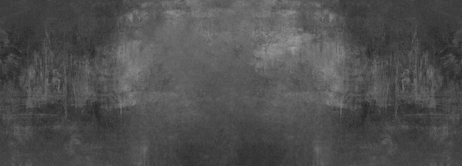 Foto op Canvas Betonbehang black grey anthracite stone concrete texture background panorama banner long