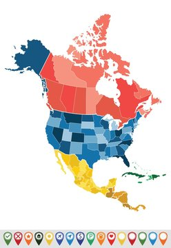 North America map with countries and states