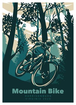 mountain bike cycling in the forest vintage retro poster illustration