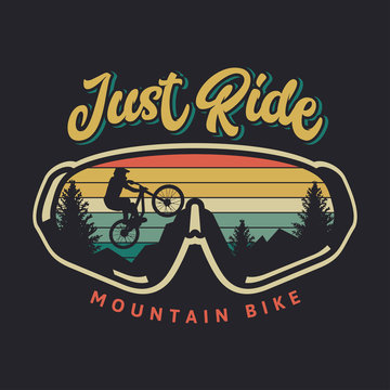 Just ride mountain bike vintage retro cyclist illustration with sunset background and glasses