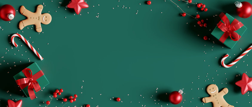 Christmas decorations with gift box on green background. 3d rendering