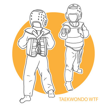 Illustration of taekwondo kids outline style on a yellow circle background