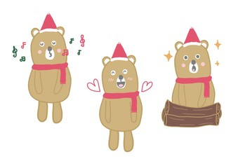 The brown bear is cheerful and cute at Christmas and New Year.
