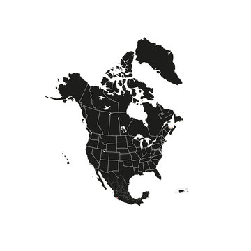North America with country borders, vector illustration.