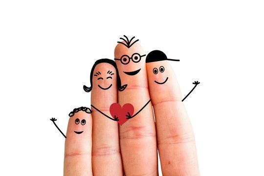 Finger family concept: Joyful finger family smiling. White background, isolated