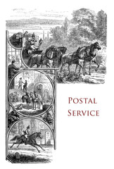 vintage chapter page describing the history of the postal service with illustration of a messenger horseback and postal carriage