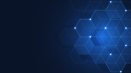 Hexagons pattern. Geometric abstract background with simple hexagonal elements. Medical, technology or science design.