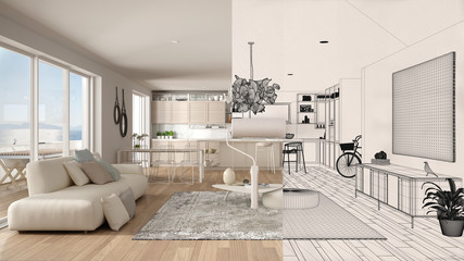 Paint roller painting interior design blueprint sketch background while the space becomes real showing modern kitchen. Before and after concept, architect designer creative work flow