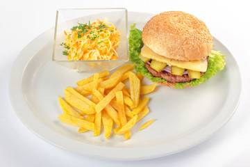 fast food menu. hamburger, french fries and salad. burger with beef stake, cheese onion and pickle. healthy variation of junk food