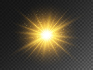 Gold glowing star on transparent backdrop. Magical explosion with star dust. Christmas light effect with magic particles. Yellow energy flash. Golden glitter and glare. Vector illustration Fototapete