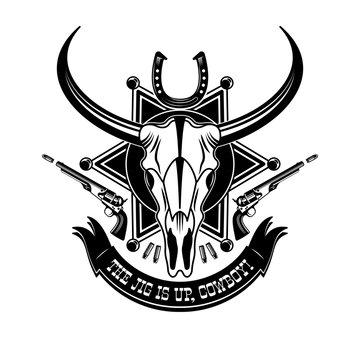 Cowboy Animal Skull Emblem Logo Typography