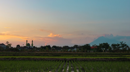 Autocollant pour porte Cracovie sunset with a beautiful panorama in the city of Klaten, Indonesia