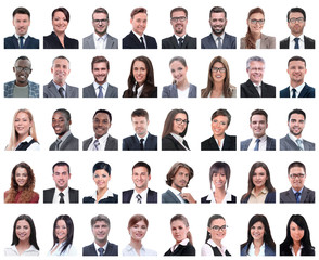 collage of portraits of successful employees isolated on white