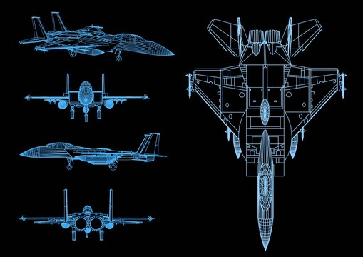 The structure of a 3D technology jet plane