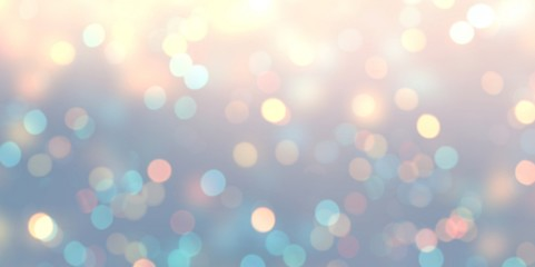 Bokeh tender iridescent banner. Romantic empty background. Light pink yellow blue abstract texture. Glitter miracle blurred illustration. Brilliance defocused template.