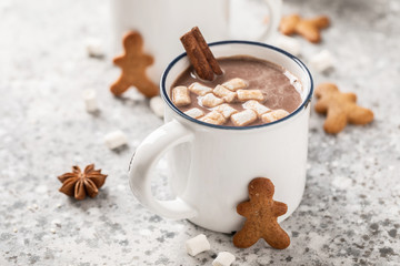 Foto auf Acrylglas Schokolade Hot chocolate or cocoa drink with milk and marshmallows.