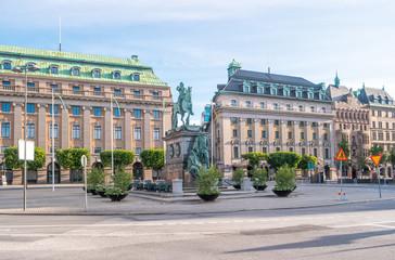 Stockholm, Sweden. View of Gustav Adolf torg with statue of King Gustav II Adolf by swedish sculptor Pierre Hubert L'Archeveque (1721–1778).
