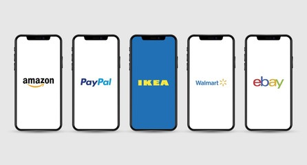 Apple Iphone with different mobile online shopping application logos: Amazon, PayPal, Ikea, Walmart, ebay
