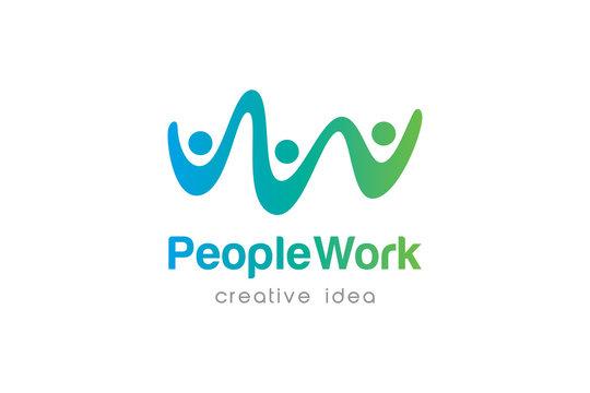 Creative Teamwork Concept Logo Design Template