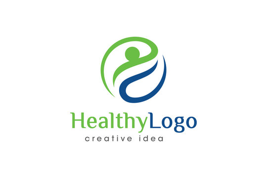 Creative Healthy People Concept Logo Design Template