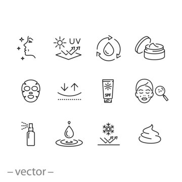 care skin icon set, sunscreen safeing for uv and cold, cleansing and moisturizing, face mask, elasticity skin covering, thin line symbol - editable stroke vector illustration eps10