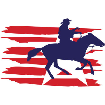 CowboyRancherRodeo flag, American Flag, Fourth of July, 4th of July, Patriotic, Cricut Silhouette Cut File, Cutting file