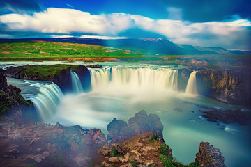Printed roller blinds Waterfalls Godafoss waterfall in Iceland