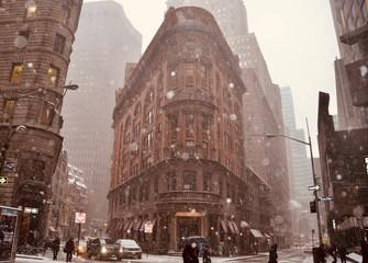Manhattan street view after a snowstorm, New York City, USA.