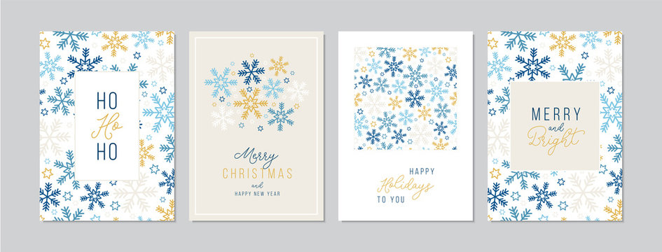 Merry Christmas cards set with hand drawn elements. Doodles and sketches vector Christmas illustrations, DIN A6