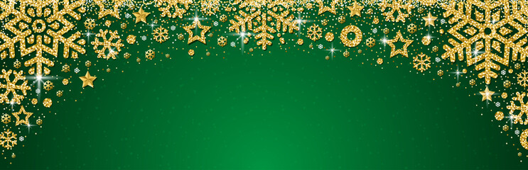 Wall Mural - Green christmas banner with golden glittering snowflakes and stars. Merry Christmas and Happy New Year greeting banner. Horizontal new year background, headers, posters, cards, website.Vector
