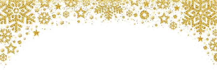Wall Mural - White christmas banner with golden glittering snowflakes and stars. Merry Christmas and Happy New Year greeting banner. Horizontal new year background, headers, posters, cards, website.Vector illustra