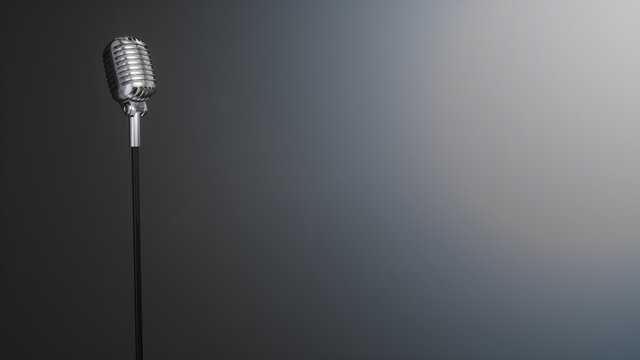Retro silver microphone on gray background. 3D Rendering.