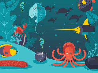 Underwater world vector illustration. Sea creatures in flat style, life at ocean bottom. Fish, octopus and eel under water, exotic animals of ocean, various sea creatures