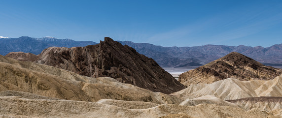 Panorama of rugged desert landscape of mountains and peaks in Death Valley National Park