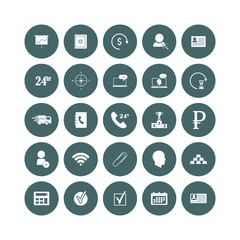 Set of web icons. Social and business icons in a circle icon on white isolated background. Layers grouped for easy editing illustration. For your design.