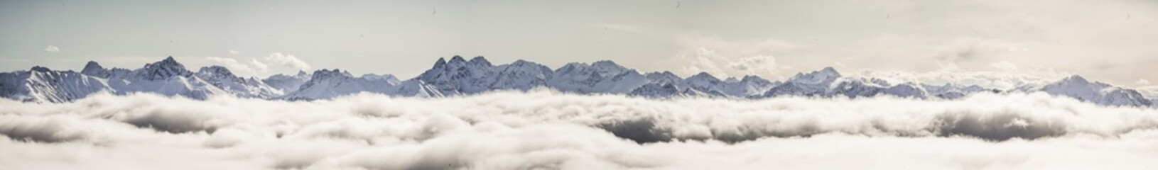 Big Panorama of snowy allgäuer alps Wall mural