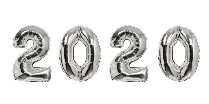 Number 2020 of silver balloons. White background. New years concept