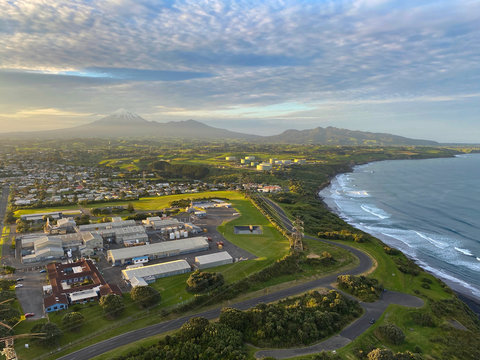 View of New Plymouth and Mt Taranaki from Paritutu Rock