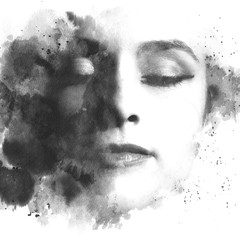 Paintography. Double exposure. Close up of an attractive model combined with hand drawn ink and...