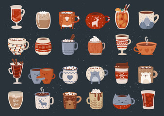 Vector collection of hot drinks in a cute mug in flat design. Hot chocolate, coffee, cocoa with marshmallow. Autumn and winter holidays set.