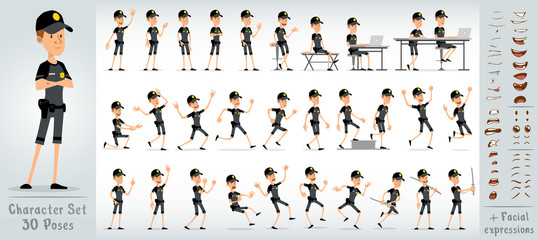 Cartoon flat cute funny police boy character in black uniform and cap with golden star badge. 30 different poses and face expressions. Isolated on white background. Big vector icon set.