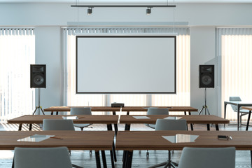 Projector screen canvas in modern conference room with big windows. 3d rendering. Front view. Papier Peint