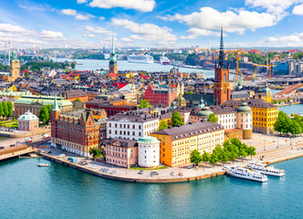 Stockholm old town (Gamla Stan) cityscape from City Hall top, Sweden Fotomurales