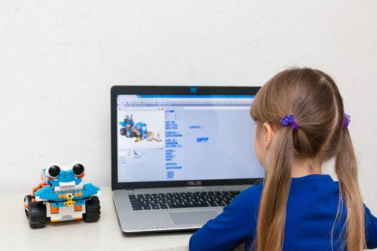 October, 2017. Minsk, Bularus. The schoolboy and the robot Lego Boost. STEM education. STEAM. Robotics.